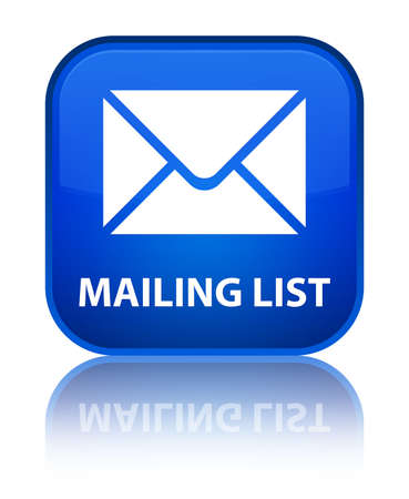mailing: Mailing list blue square button Stock Photo