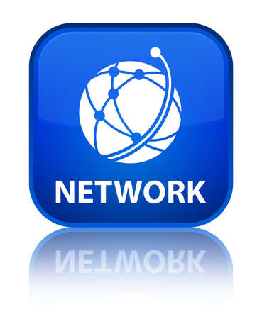 Network (global network icon) blue square button photo