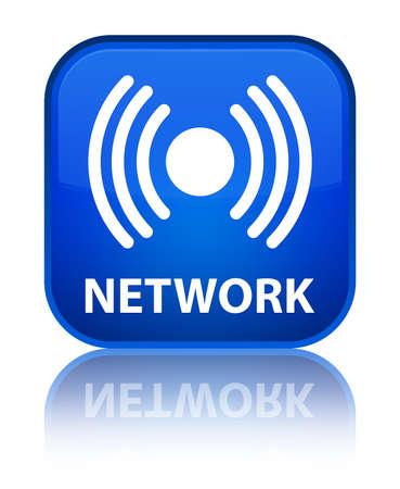Network (signal icon) blue square button photo