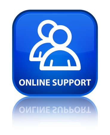Online support (group icon) blue square button photo