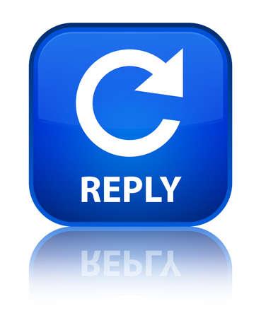 Reply (rotate arrow icon) blue square button photo