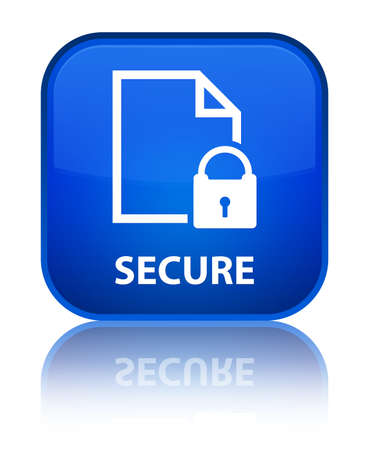 Secure (document page padlock icon) blue square button photo
