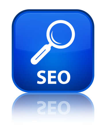 Seo blue square button photo