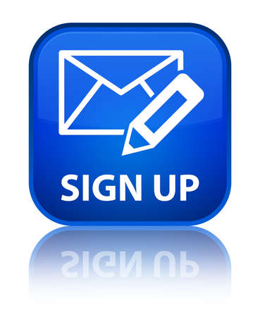 sign up icon: Sign up (edit mail icon) blue square button