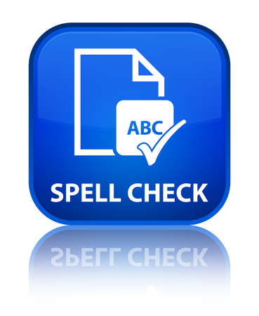 Spell check document blue square button photo