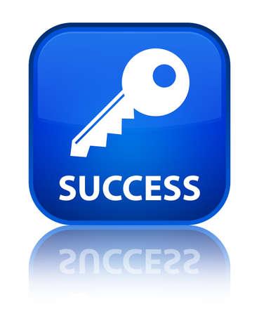 Success (key icon) blue square button photo