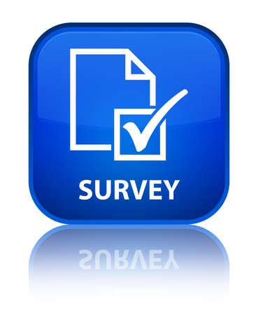 Survey blue square button photo