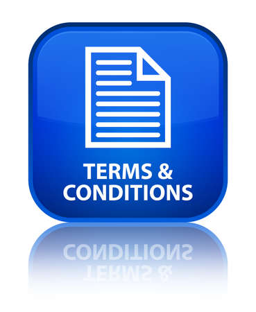 conditions: Terms & conditions (page icon) blue square button Stock Photo