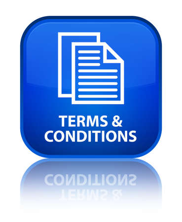conditions: Terms and conditions (pages icon) blue square button Stock Photo
