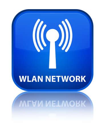 wlan: Wlan network blue square button Stock Photo