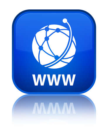 WWW (global network icon) blue square button photo