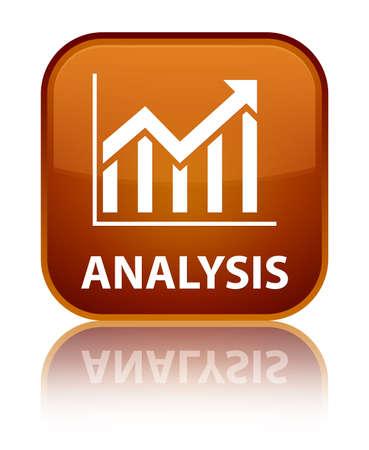 Analysis (statistics icon) brown square button photo