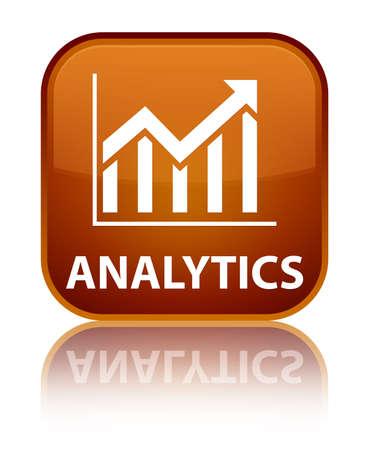 Analytics (statistics icon) brown square button photo
