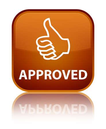 thumbs up icon: Aprobado (pulgar hacia arriba icono) bot�n marr�n cuadrado