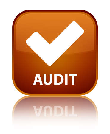 validate: Audit (validate icon) brown square button