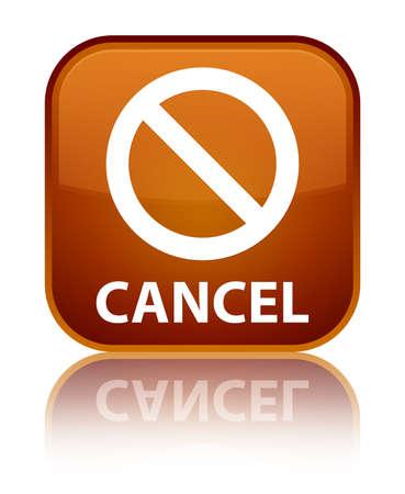 deny: Cancel (prohibition sign icon) brown square button