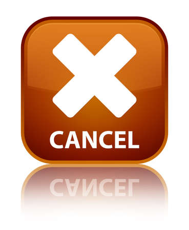 abort: Cancel brown square button Stock Photo