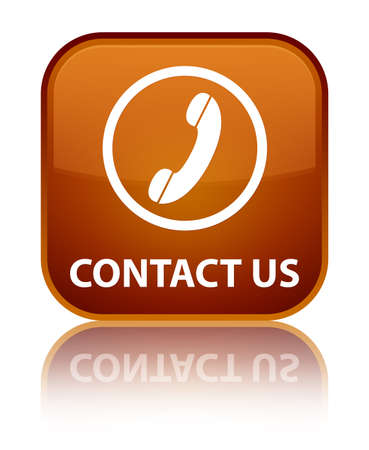 phone us: Contact us (phone icon round border) brown square button
