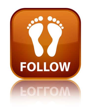 follow: Follow (footprint icon) brown square button