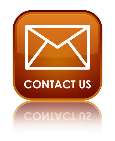 email contact: Contact us (email icon) brown square button