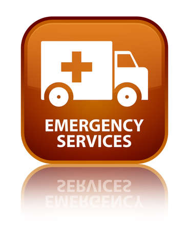 emergency button: Emergency services brown square button