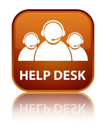help desk: Help desk (customer care team icon) brown square button