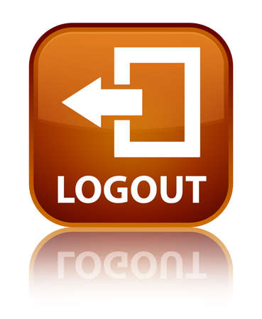 log off: Logout brown square button Stock Photo