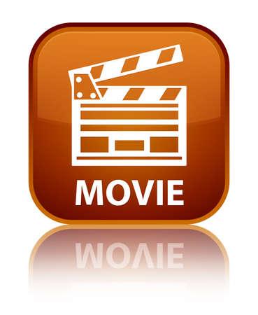 Movie (cinema clip icon) brown square button Banco de Imagens
