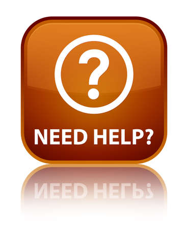 need: Need help (question icon) brown square button