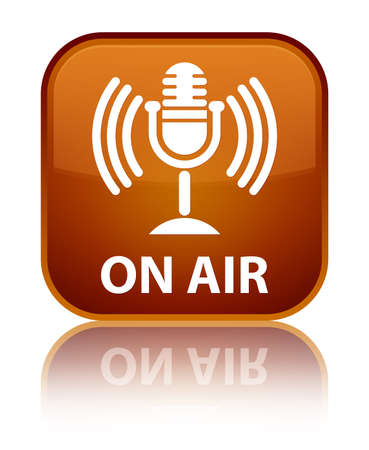 air show: On air (mic icon) brown square button