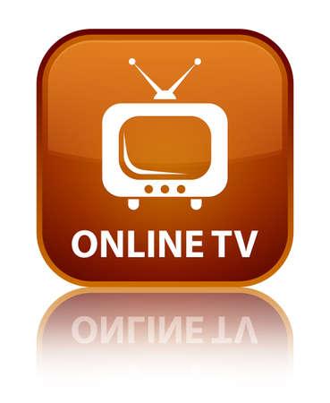 Online tv brown square button photo