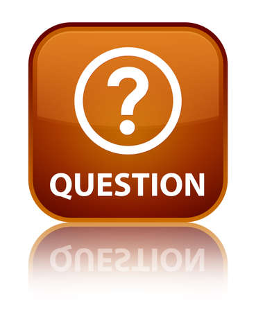 square button: Question brown square button Stock Photo