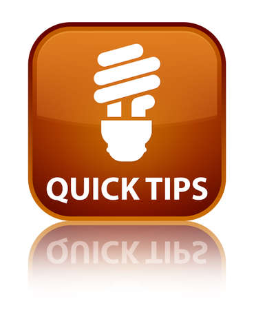 hints: Quick tips (bulb icon) brown square button Stock Photo