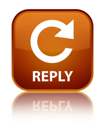 rotate: Reply (rotate arrow icon) brown square button Stock Photo