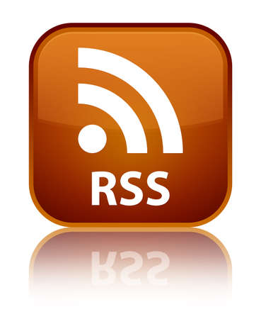 rss: RSS brown square button Stock Photo