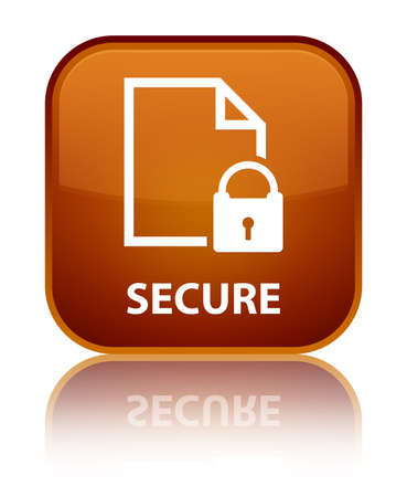 encrypted files icon: Secure (document page padlock icon) brown square button