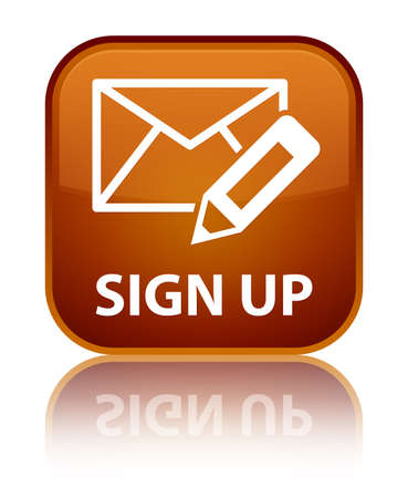 registry: Sign up (edit mail icon) brown square button