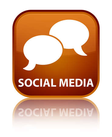 chat bubble icon: Social media (chat bubble icon) brown square button Stock Photo