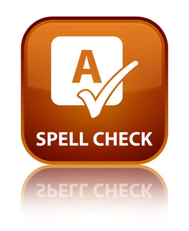 spell: Spell check brown square button