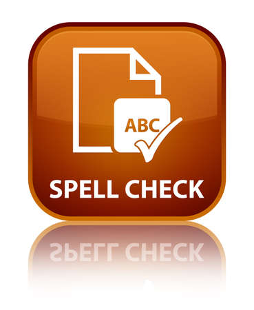 spell: Spell check document brown square button Stock Photo