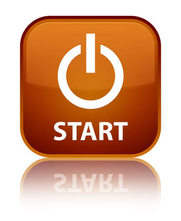turn up: Start (power icon) brown square button