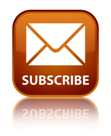 subscribe: Subscribe (email icon) brown square button Stock Photo