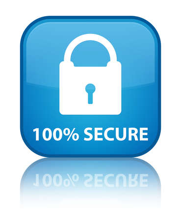 key hole shape: 100% secure cyan blue square button