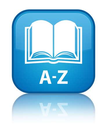az: A-Z (book icon) cyan blue square button Stock Photo