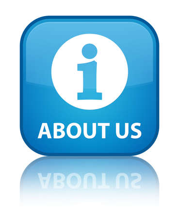 'about us': About us cyan blue square button Stock Photo