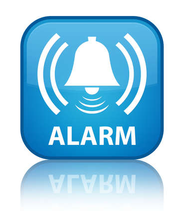 Alarm (bell icon) cyan blue square button photo