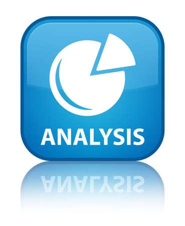 Analysis (graph icon) cyan blue square button photo