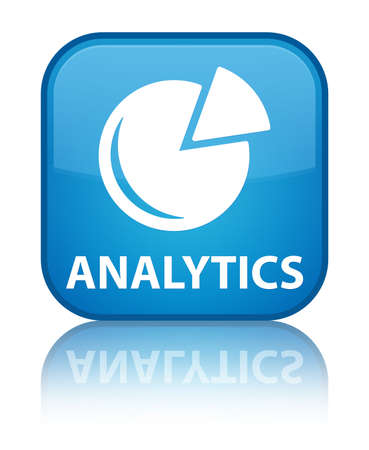 Analytics (graph icon) cyan blue square button photo