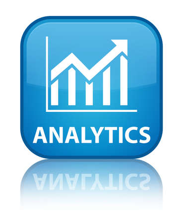 Analytics (statistics icon) cyan blue square button photo