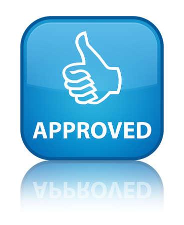 thumbs up icon: Aprobado (pulgar hacia arriba icono) bot�n cuadrado azul cian
